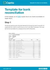Template for bank reconciliation