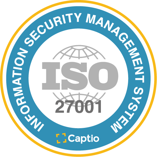 Captio certified under security standard ISO/IEC 27001
