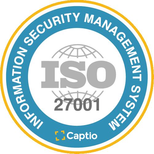 Captio certified under security standard ISO/IEC 27001